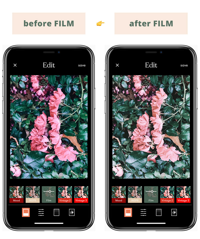 Instagram Feed Tips For Success - Best Tezza App filters for Instagram feed: The FILM Filter Illustrated Before & After