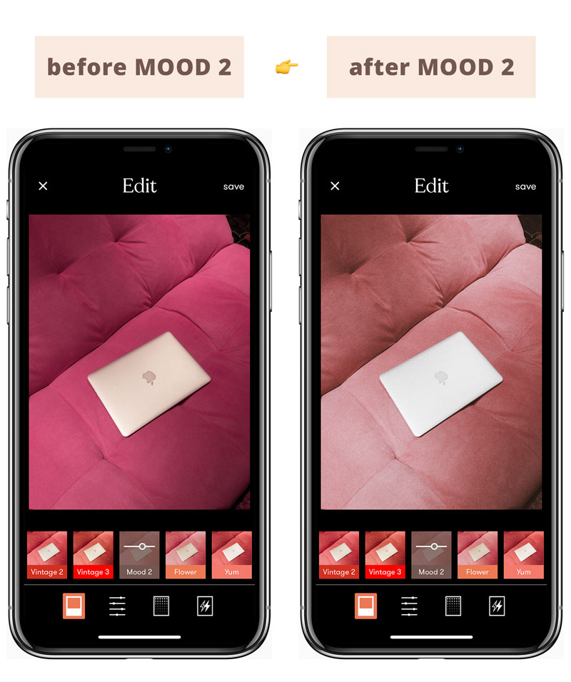 Instagram Feed Tips For Success - Best Tezza App filters for Instagram feed: The MOOD 2 Filter Illustrated Before & After