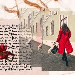 Red Coat Outfit | Digital collage featuring a fashion blogger wearing a red coat.
