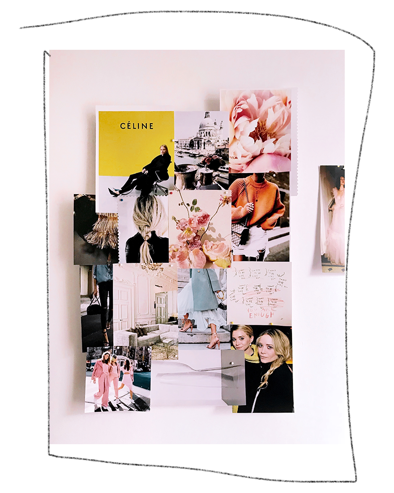 Mood Board Inspiration: how the mood board looks on the wall by itself