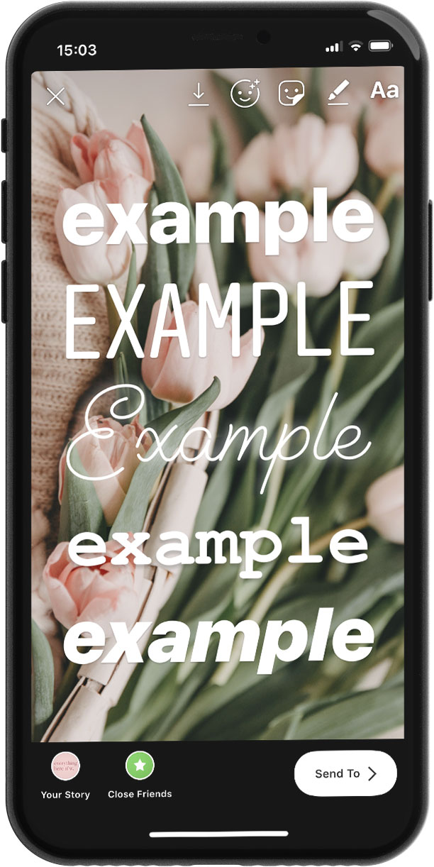In-App Instagram Stories Fonts