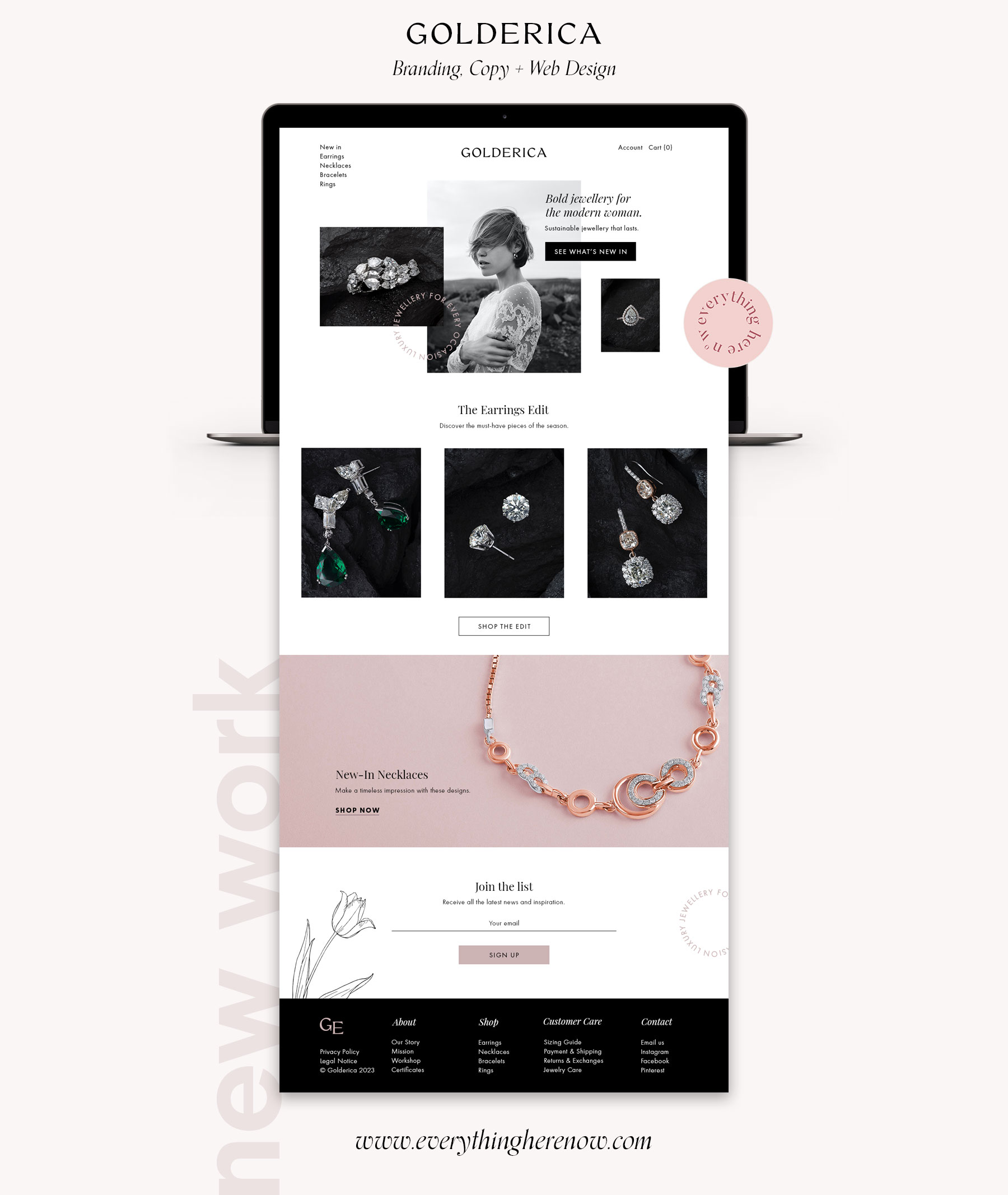 Golderica Jewelry Brand Website Design by Everything Here Now
